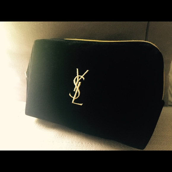 YSL Black Velvet Cosmetic Pouch Makeup Bag 3445b0b9ebc71